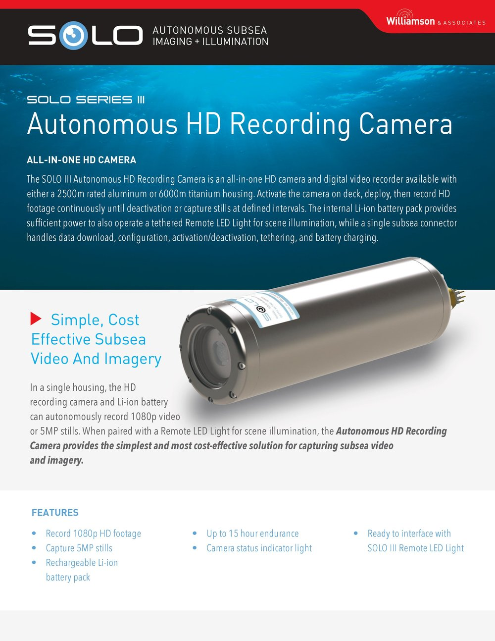 Autonomous Underwater Action Camera