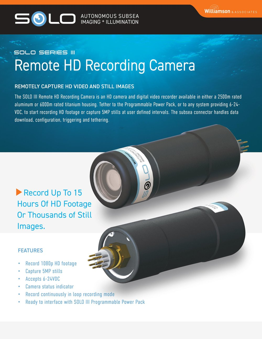 Underwater Video Camera Recording System
