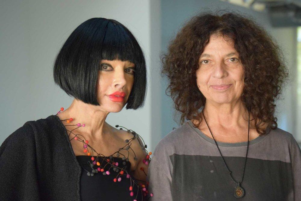 "Time4Art curator Homeira Goldstein with ""Mimesis"" artist Carla Viparelli. Photo by Bondo Wyszpolski"