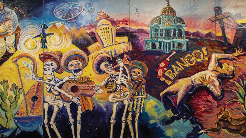 "Detail of Frank Romero's majestic ""¡Méjico, Mexico!,"" a wall-sized canvas painted in 1984. ( Cheech Marin Collection / MOLAA )"