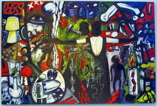 """La Tormenta Returns,"" by Gronk, 1998 (oil on wood panel, 96 x 144 inches) Courtesy:  Hippobells"
