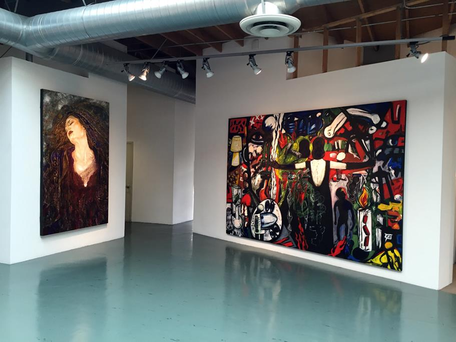 Axis Bold as Love, 2001 George Yepes, oil on canvas (left); La Tormenta Returns by Gronk, painting (right)