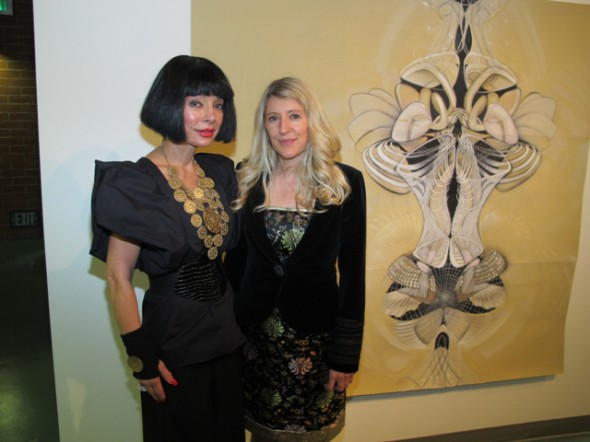 "Curator Homeira Goldstein and artist Amy Myers at the opening of ""Contemporary Cosmology."" Photo by Bondo Wyszpolski"
