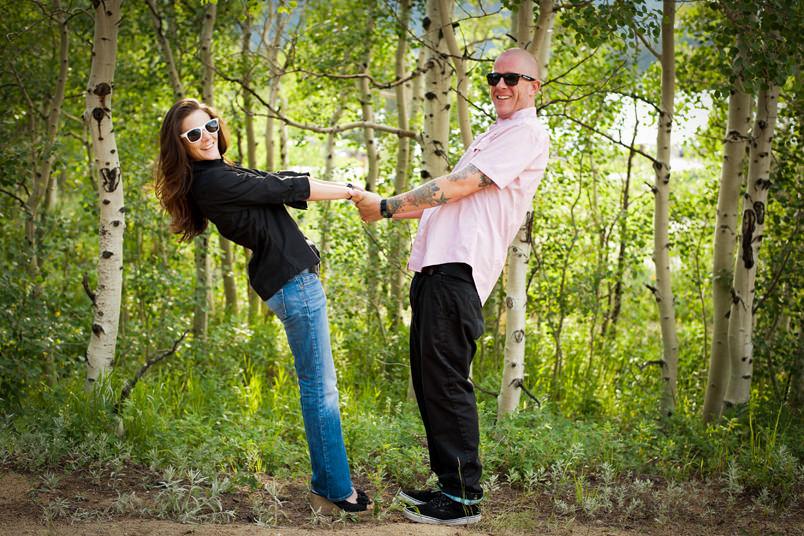 Engagement portrait Aspen trees Estes Park