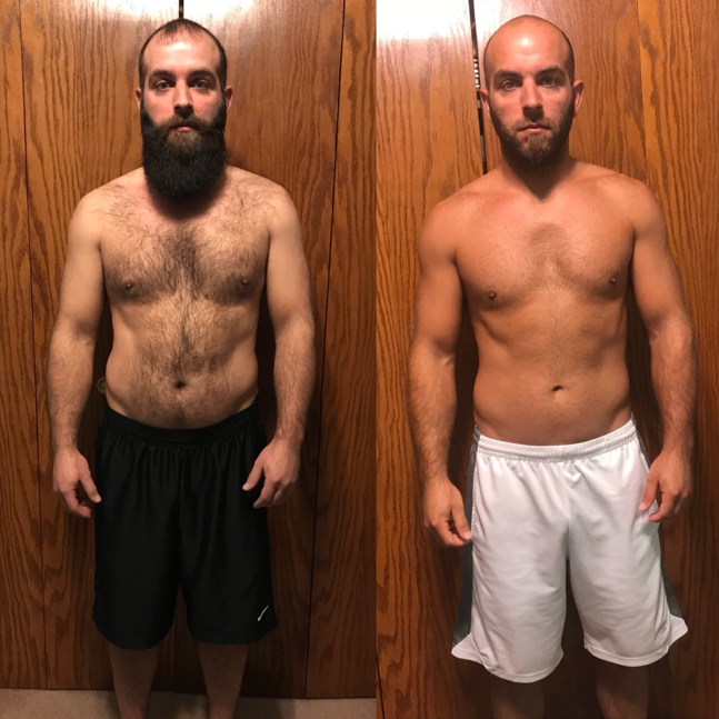 """2018 PROGRAM - I WEIGHED A LITTLE OVER 180 POUNDS WITH A BIG GUT AND LOVE HANDLES THAT I WANTED GONE. AFTER 8 WEEKS I HAVE LOST 14 POUNDS AND 4"""" OFF OF MY WAIST! SUPER EXCITED ABOUT THAT AND CAN'T WAIT TO SEE MORE RESULTS WHILE CONTINUING THEIR PROGRAM! THANKS TO THE BOTH OF YOU! COULDN'T HAVE DONE IT WITHOUT YOU!"""" – HEATH S."""