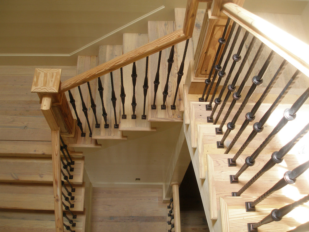 Pine Box Newel and Rail with Rubbed Copper Iron Balustrade