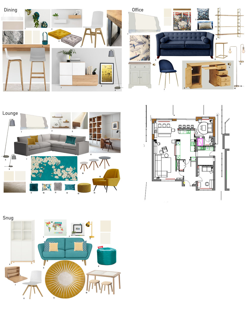 Digital itemised mood board for each room of a family home with a scaled floor plan.