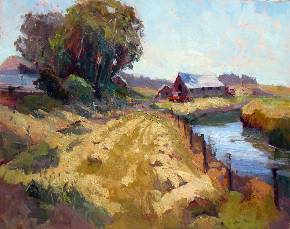 "Farm on the Estuary, 14""x18"", Oil on Board"