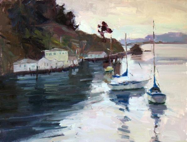 """Boats by Tony's, 14""""x18"""", o/b  (Sold)"""