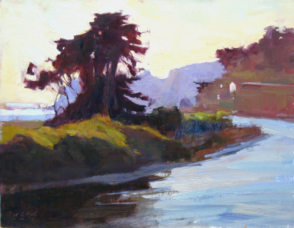 """Rivers End, 14""""x18"""", o/b  (Sold)"""