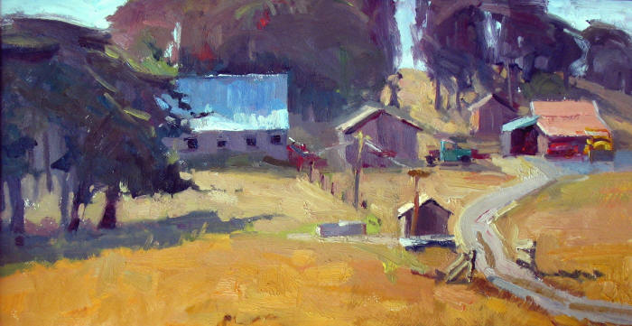 "Homestead, 10""x20"", Oil on Board"
