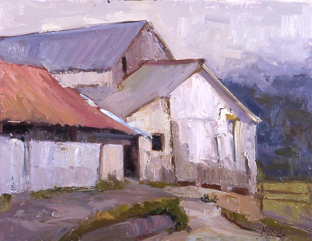 "Milk Barn, 14""x18"", Oil on Board"