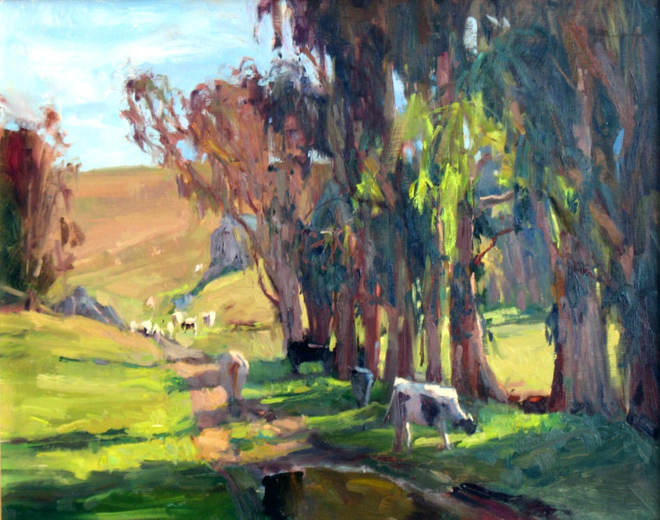 "Roadside Grazing, 14""x18"", Oil on Board"