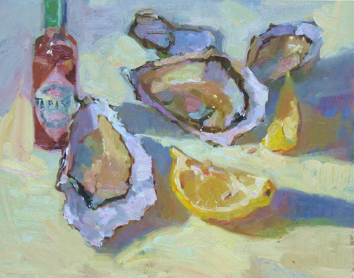 "Hot Lemon Oysters, 11""x14"", Oil on Board"