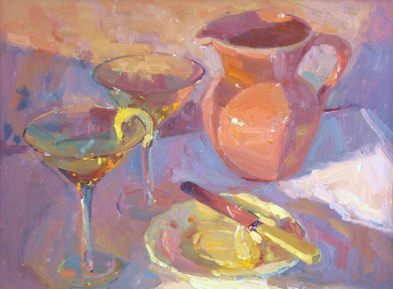 "Martinis Terra Cotta, 12""x16"", Oil on Board"
