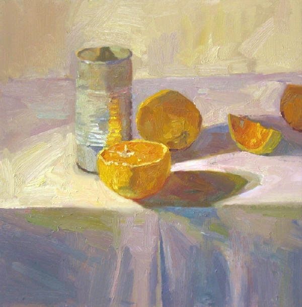 "Tin Can Oranges, 16""x16"", Oil on Board"
