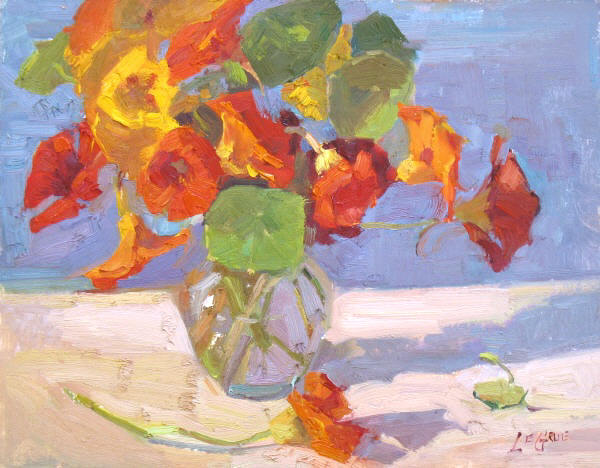 "Nasturtiums in a Vase, 11""x14"", Oil on Board"