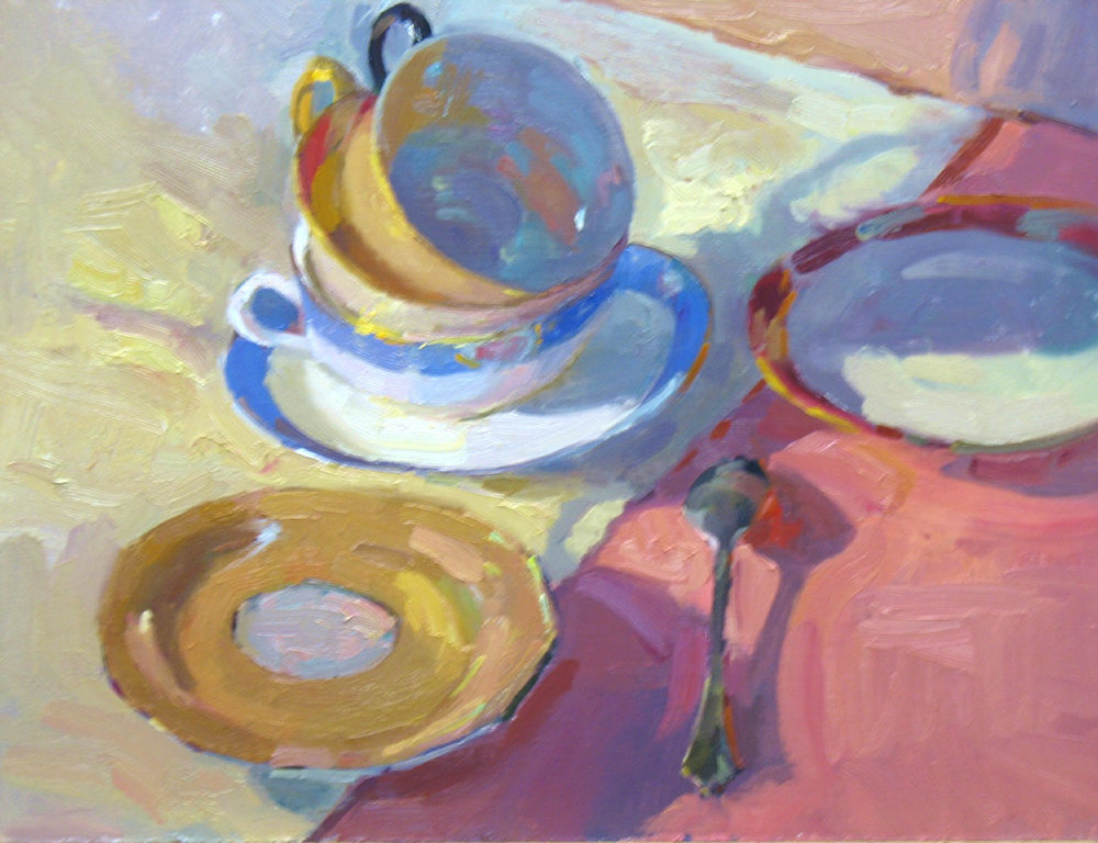 "Tea for Three, 11""x14"", Oil on Board"