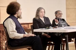 The panel - Tarik Shah, Kathy Manley and Shamshad Ahmad.