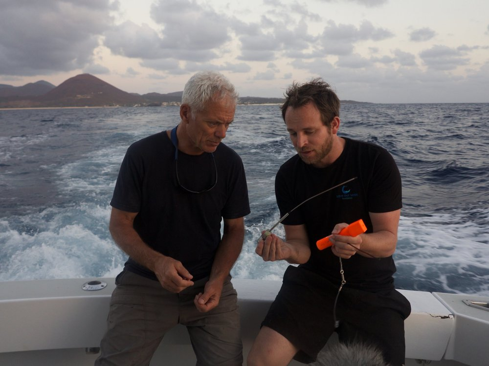 Tristan presenting River Monsters with Jeremy Wade, for Animal Planet.