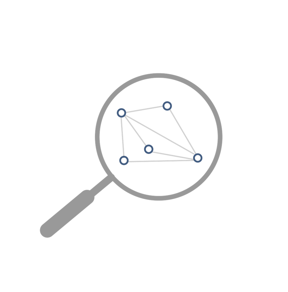 Data science charts & magnifying glass