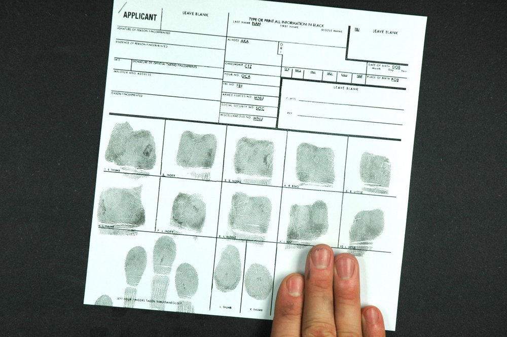 Fingerprinting - We offer fingerprinting service. We print your fingers on a standard FBI FD-258 card.Please note:For best print results it is important to hydrate and moisturize days in advance of fingerprinting.