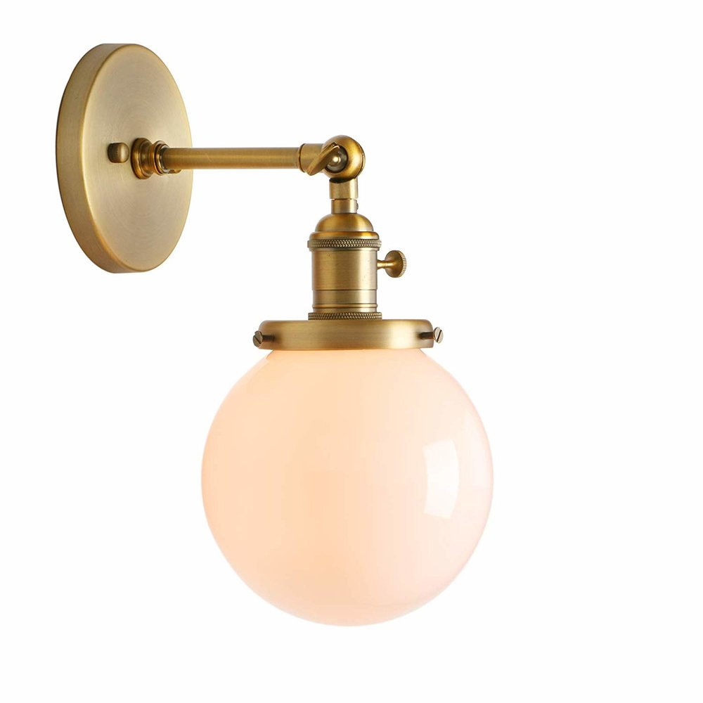$49.99 - Vintage Industrial Wall Sconce w/ Milk Glass Globe | We just installed 2 of these beauties upstairs and they diffuse beautiful and are the perfect vintage/industrial touch. They spark a lot of joy for me.