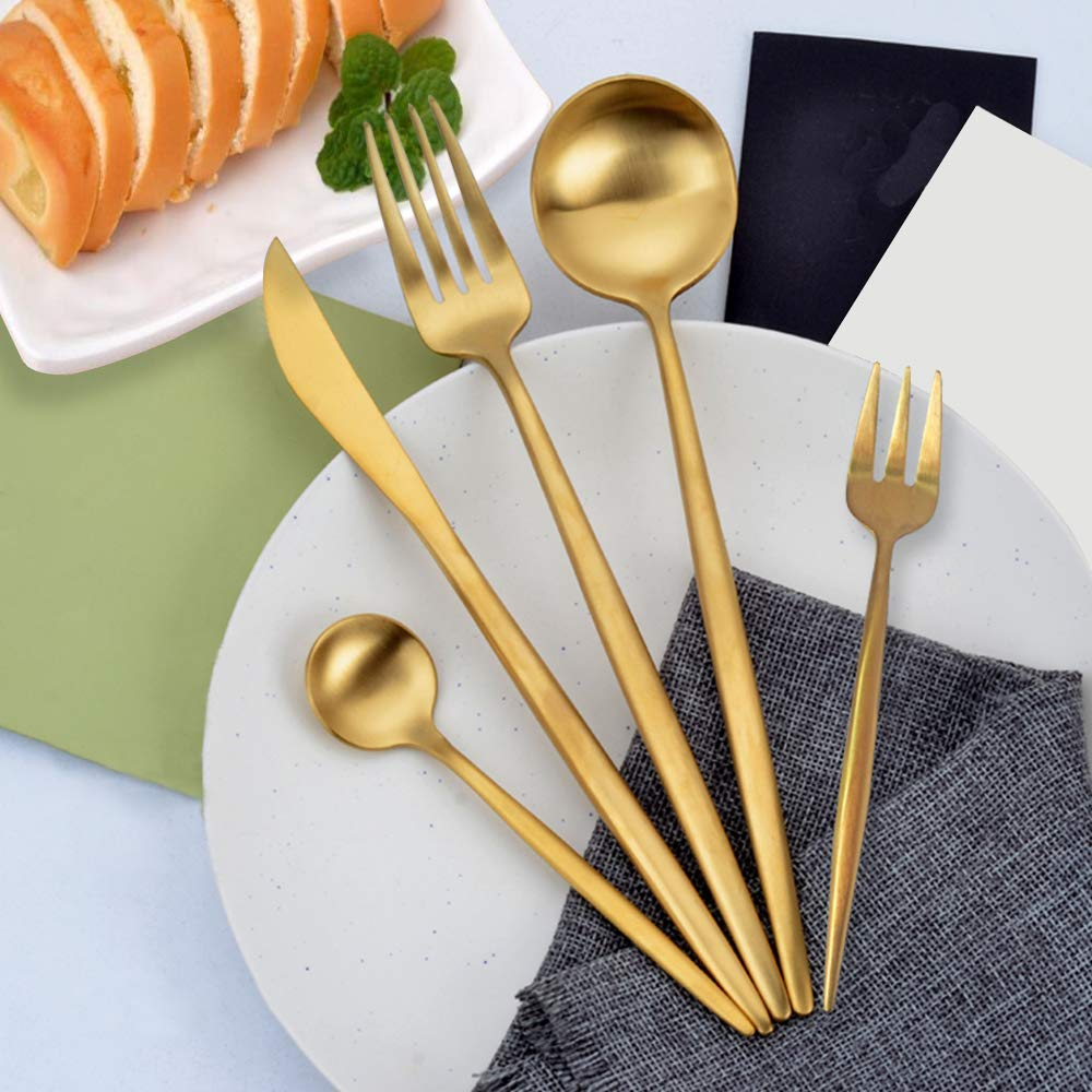 $47.99 - 4 Person Gold Utensil Set | Awesome for dinner parties and the tiny flatware is also fun for fancy kid dinners