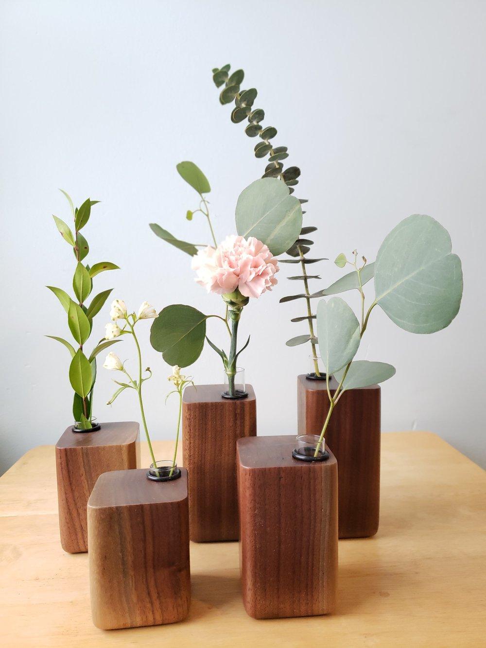 Walnut Bud Vases