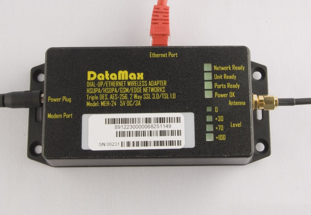 Cellular DataMax - Make sure Power, antenna and Ethernet to ATM are plugged in. Lights are on, at least 1 of 4 lower signal level.DataMax Ethernet Port Test1) unplug phone and Ethernet cable from the unit.2) unplug the power from the unit.3) plug power back.4) wait a bit and then plug the Ethernet cable from the ATM in to the unit.5) If the