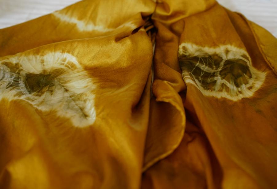 Silk scarf dyed in dyer's polypore mushroom.