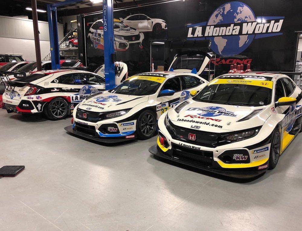 L.A. Honda World Racing's Three Honda Civic Type R TCR Race Cars at the LAP Motorsports facility, ready for the 2019 IMSA Michelin Pilot Challenge