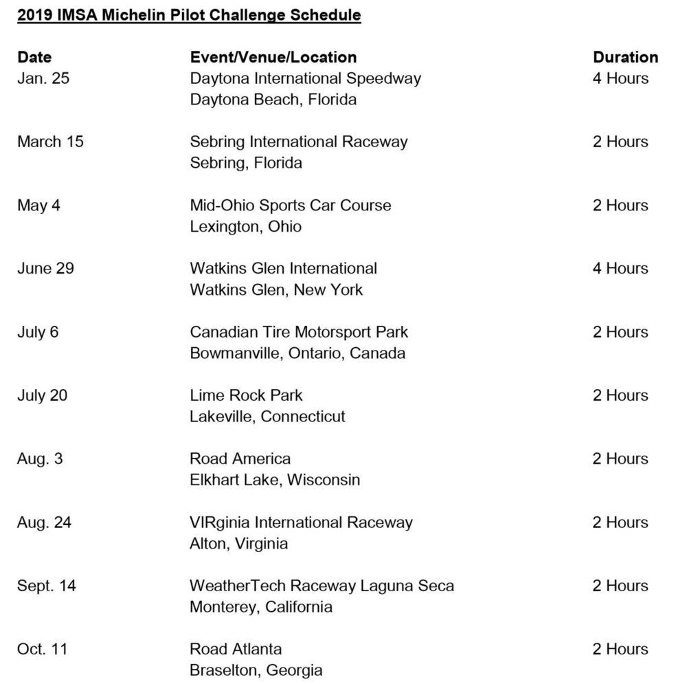 IMSA Michelin Pilot Challenge 2019 Schedule