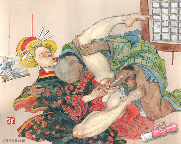 Supine Couple with Hokusai Fan