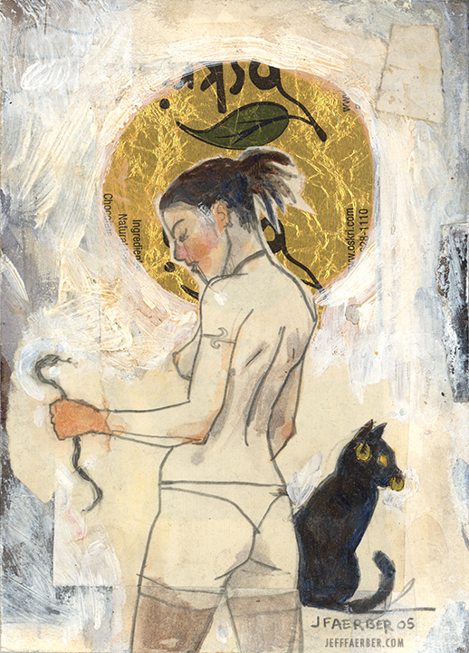 Haloed Woman with Cat