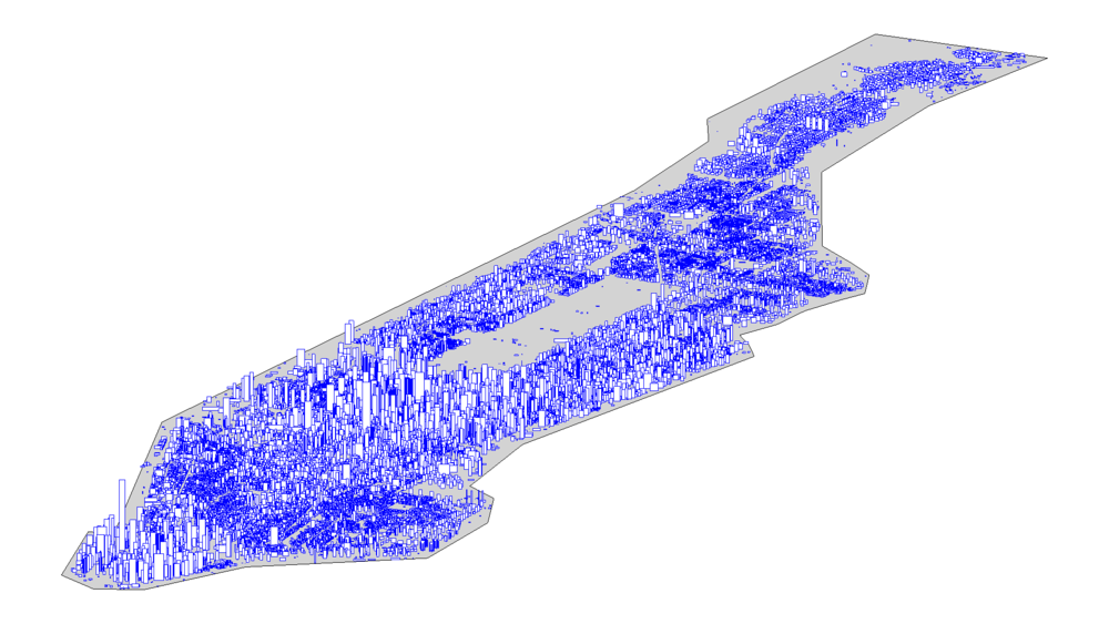 纽约曼哈顿的建筑物的位置、高度和面积信息