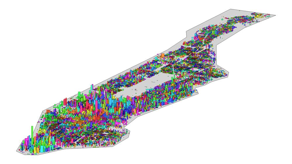 相邻建筑物通过一定规则合并为山峰,如图中色彩所示