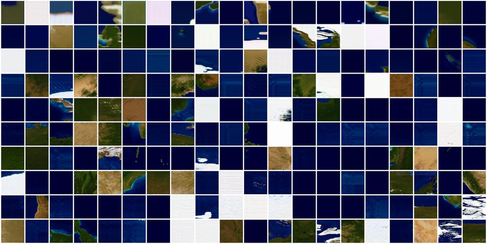 《地球照耀火星》第 65 代训练过程的中间结果,每一幅图片代表着全部 200 轮训练中每一轮的生成图像的质量。训练之初,网络所生成的图像完全不像地球。然而在对数以千计的训练样本进行数百遍的学习之后,生成器已经掌握了关于地球地理的大量知识,并能够据此生成逼真的图像了。一个成功的神经网络模型是长期迭代的结果,需要反复进行架构调整、数据整理、超参数调节以及模型训练等工作。