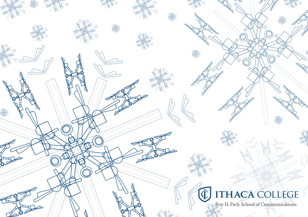 Drone snowflake holiday card for Park School of Communications Dean's Suite