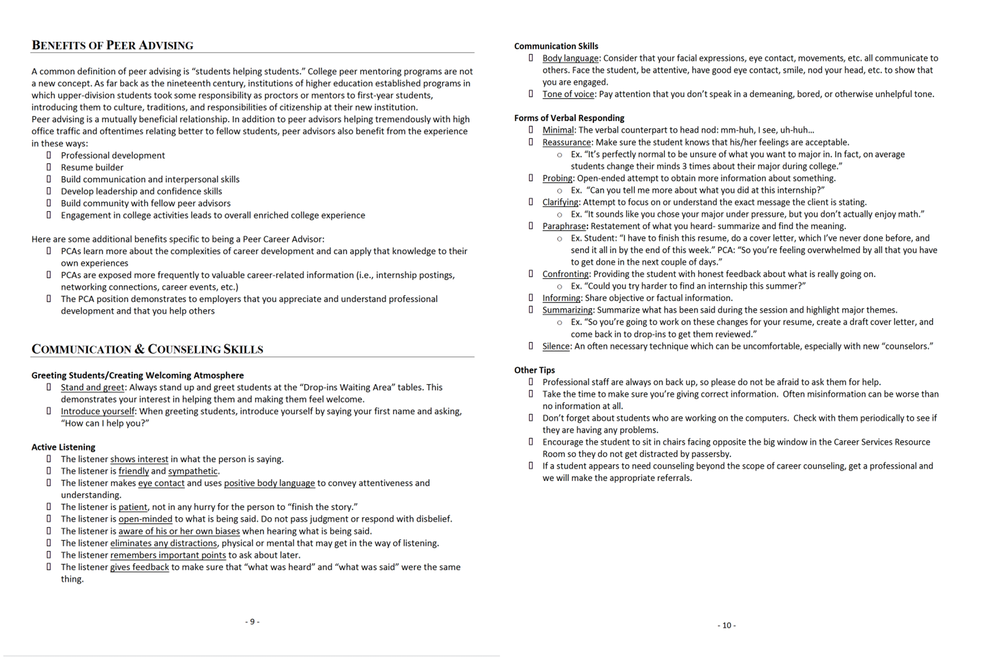 Before version of communication page in career guide (see redesign version above)