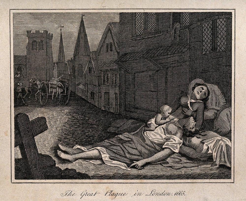 Pesten drog fram genom Europa och Sverige flera gånger under 1600-talet och början av 1700-talet. Epidemin 1710 var en av de värsta i Stockholm. Etsning av Robert Pollard, Wellcome Collection.