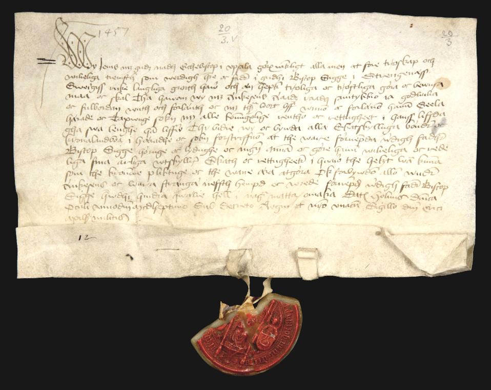 Förläningsbrev från 1457, Riksarkivet (SDHK-nr 26966).