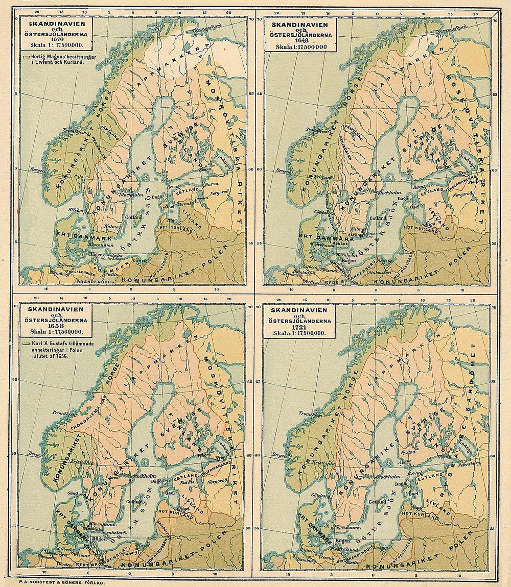 Sveriges gränser under 150 år, från 1570 till 1721 enligt en karta av Hildebrand och Selander, publicerad i Historisk Atlas (Norstedt & Söner) 1880. Redigerad. Brända hemman/Gunnar Lind.