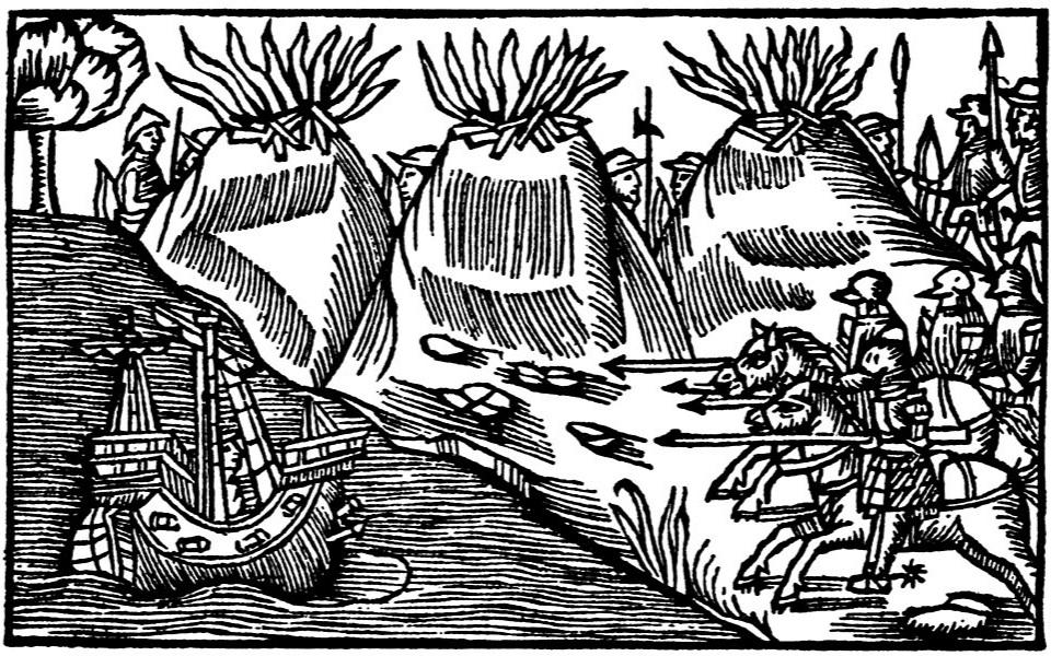 I Olaus Magnus skildring av de nordiska folken från 1555 beskrivs traditionen att tända vårdkasar om fiender angriper kusten.