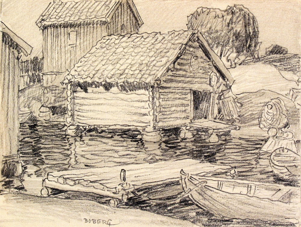 Sjöbodar på Möja 1924, Ferdinand Boberg
