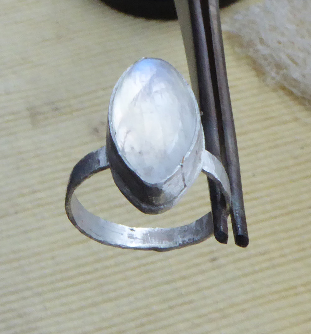 One of my First Moonstone Rings. (Not Yet Polished)
