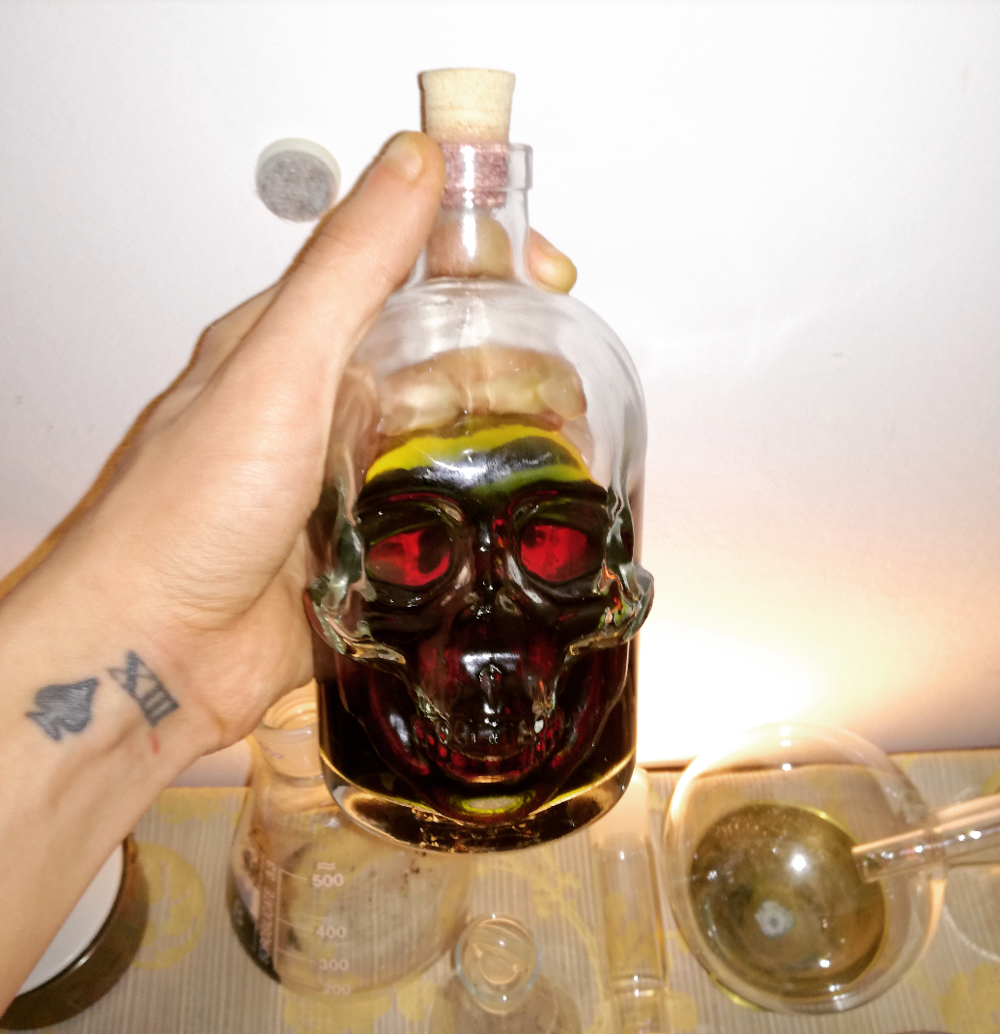Our finished and filtered Elixir of Saturn (Cannabis is a Plant Ruled by Saturn)