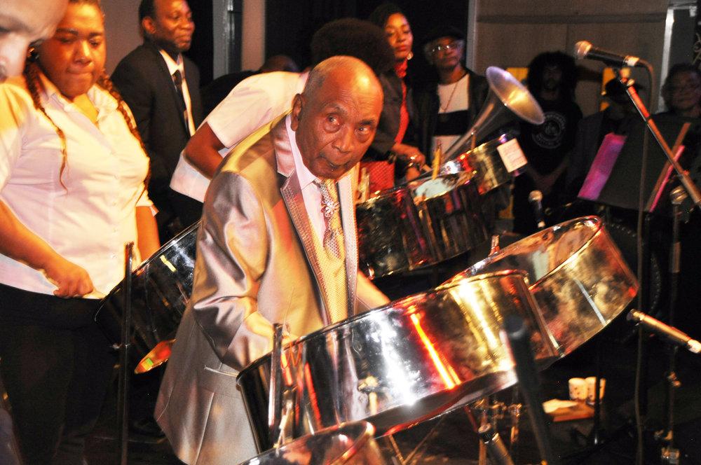Cyril playing pan at this 86th Birthday.