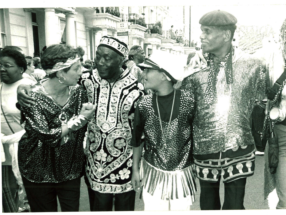 Cyril with Russ Henderson and friends at Notting Hill Carnival