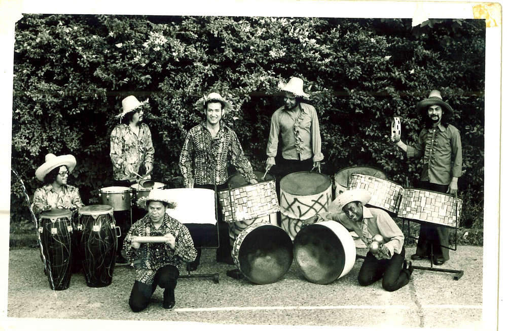 Cyril with the  members of their Steelband